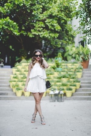white OHM Boutique romper - heather gray Dolce Vita shoes - black Chanel bag