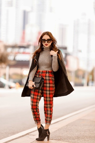 ruby red plaid bluboutique pants - black romwe jacket