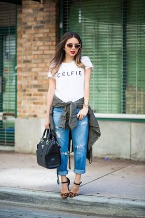 black Danielle Nicole bag - blue AG Jeans jeans - white nodaysoffccs top