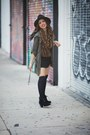 Black-ankle-booties-sole-society-boots-forest-green-military-sugarlips-jacket