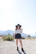 white asos top - black H&M hat - black H&M shorts - tan Forever 21 sunglasses