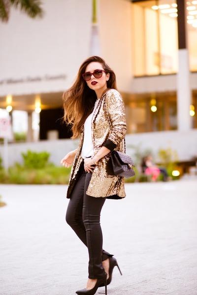 gold gold sequin Nasty Gal blazer - black black pumps Nasty Gal shoes
