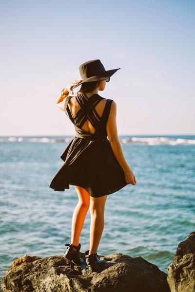 black claudia saer swimwear - black pink and pepper boots - black romwe dress