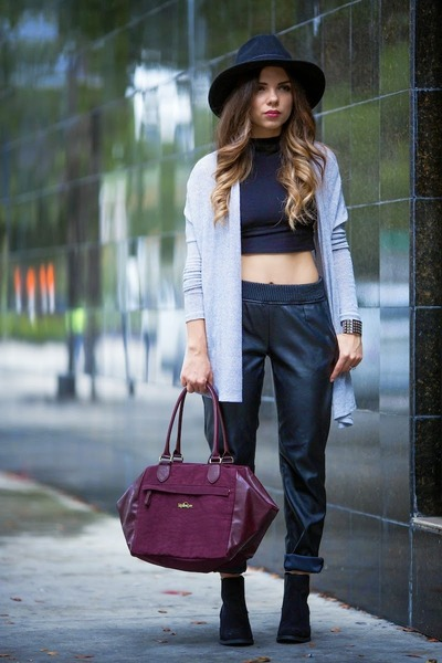 magenta Kipling bag - black H&M shoes - black OASAP hat