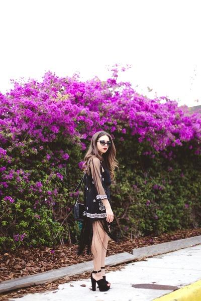 black Nasty Gal shoes - black asos cardigan - black Nasty Gal skirt