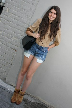 vintage boots - Gucci bag - DIY shorts - vintage blouse