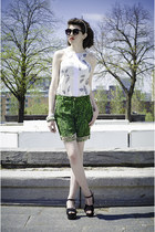 green NUI by Vickie Joseph shorts - black Forever 21 sunglasses