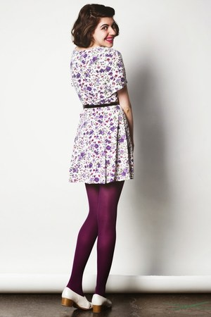 purple vintage dress - magenta Secret Legwear tights - black vintage belt
