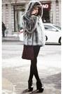 Charcoal-gray-faux-fur-vintage-coat