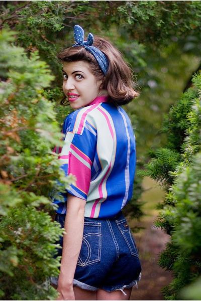 navy jeans vintage shorts - hot pink vintage blouse