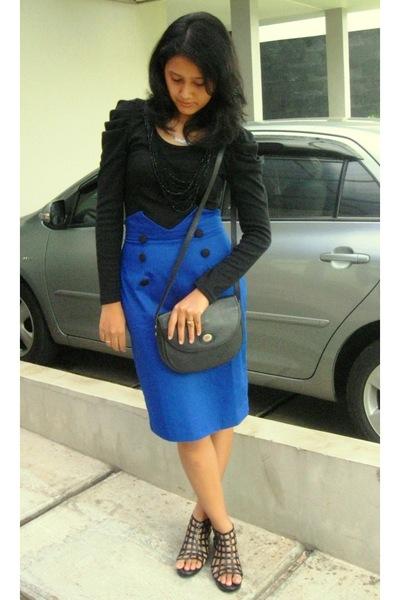black shirt - blue skirt - black christian dior purse - black shoes