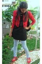 red bloop blazer - black pink label dress - gray Yuan jeans - red wondershoe sho