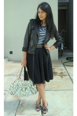 black ribbonshop jacket - black Arizona t-shirt - black skirtorama skirt - black