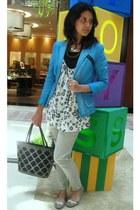 blue X SML blazer - white Miss Selfridges dress - black Nefertiti necklace - gra