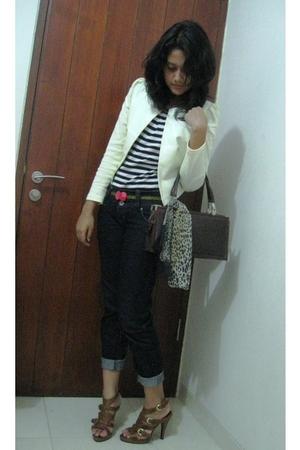 white chizue blazer - black Arizona t-shirt - black only I belt - brown NABLY BY