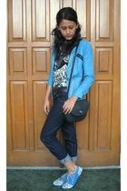 blue xsml blazer - blue kulkith shoes - black christian dior purse - kakei -