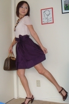 Bebe skirt - Victorias Secret blouse - Louis Vuitton purse - seychelles shoes
