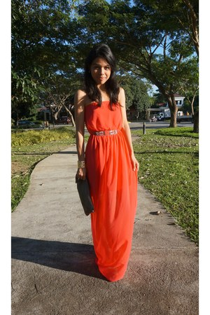 carrot orange formal Zara dress - shiny leather Topshop purse - mustard bracelet