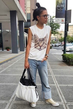 white Furla bag - white top - white from bangkok top