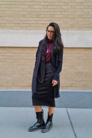 black leather Dr Martens boots - maroon H&M top - black cardigan