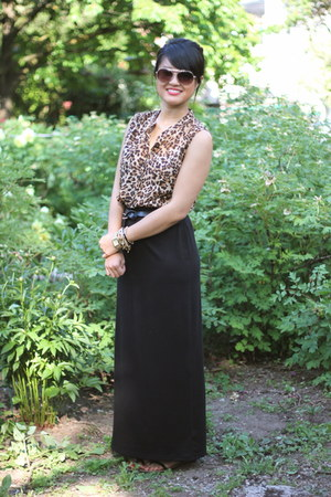 leopard print Old Navy top - black maxi skirt Old Navy skirt