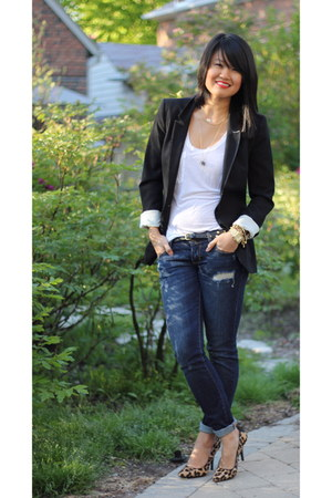 sequins H & M blazer - ripped abercrombie and fitch jeans