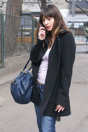 black merona coat - purple Sinequanone blouse - blue Bershka jeans - blue H&M ac