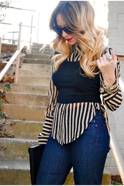 black Very blouse - navy flares citizens of humanity jeans