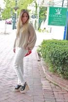 cream python print Blank jeans - ruby red Zara purse - Deena & Ozzy wedges