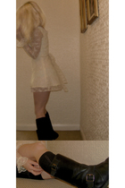 beige homemade dress - black motorcycle festival boots - black River Island sock