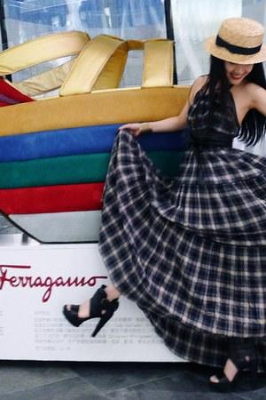 plaid DKNY dress - leather obi asos belt - Zara heels