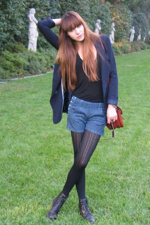 Forever 21 blazer - Forever 21 shirt - Paige Premium Denim shorts - DKNY tights