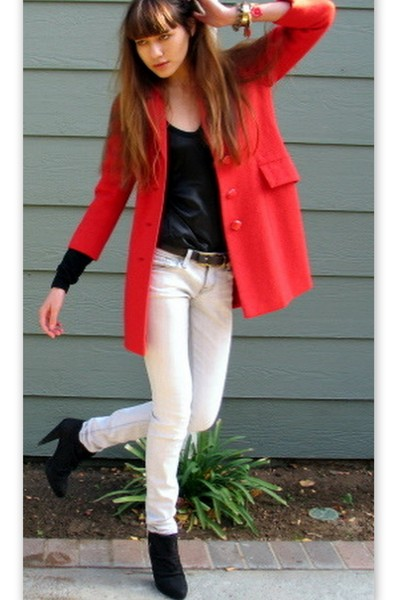red vintage coat - black zara boots