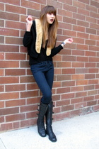 vintage jacket - Forever 21 top - joes jean jeans - enrico antinori boots