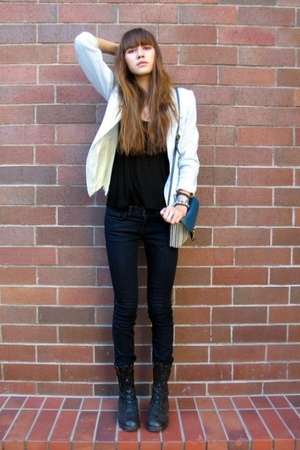 vintage blazer - Forever 21 shirt - Joes Jeans jeans - vintage boots