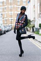 maroon aztec print Zara coat - black Carvela boots - black Zara leggings