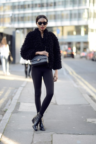 black H&M coat - black Zara boots - black asos leggings - dark gray Chanel bag