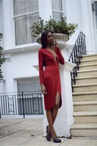 red deep v neck asos dress - navy Christian Louboutin heels