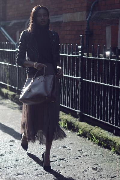 black leather Topshop jacket - brown leather Prada bag - camel whistles skirt