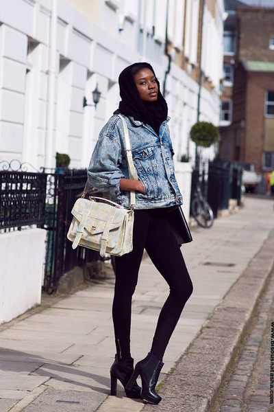 denim Urban Outfitters jacket - asos boots - Zara leggings