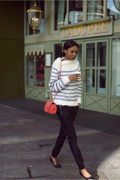 red red Ebay bag - black leather Zara pants - navy striped H&M jumper
