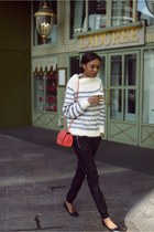 red red Ebay bag - black leather Zara pants - navy striped H&M jumper