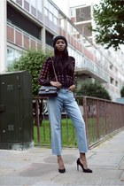 light blue Monki jeans - crimson warehouse blouse - black SuperTrash heels