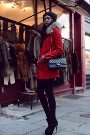 red woolrich coat - black Kurt Geiger boots - black Zara leggings