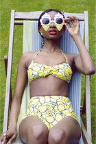 yellow lemon print Topshop swimwear - red lipstick Armani Beauty accessories