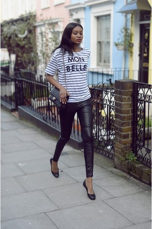 blue stripes River Island t-shirt - black leather H&M leggings - dark gray bag