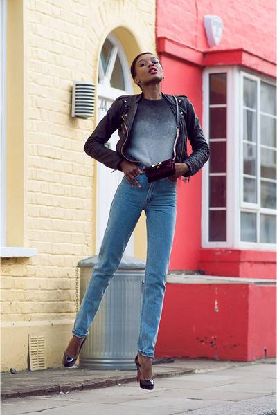 black Topshop jacket - light blue American Apparel jeans - maroon Zara bag