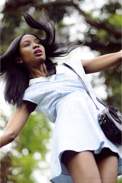 light blue Olive Clothing top - black hm bag - black Topshop heels
