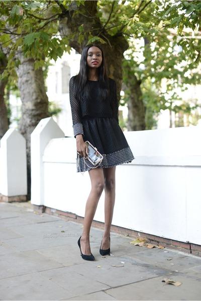 black Sister Jane top - off white Forever 21 bag - black Sister Jane skirt