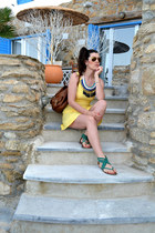 Stradivarius necklace - sandals Primark shoes - yellow H&M dress